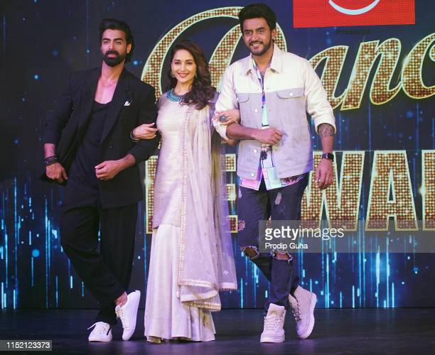 Choreographer Tushar Kalia actress Madhuri Dixit and director Shashank Khaitan attend the press conference for reality TV show Dance Dewana on May 27...