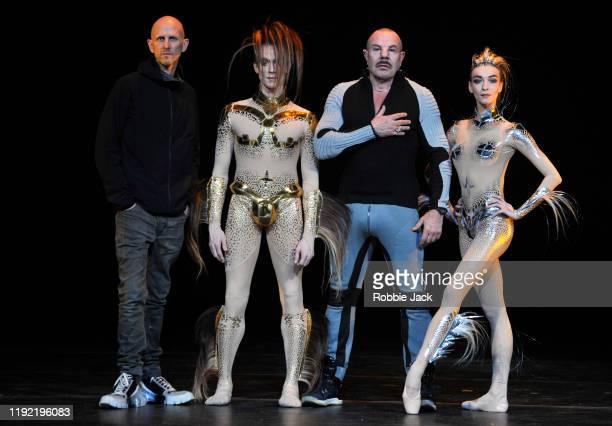 "Choreographer Wayne McGregor, dancers Edward Watson, designer Manfred Thierry Mugler, and dancer Olga Smirnova during ""McGregor And Mugler"" at The..."