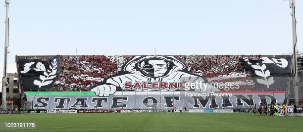 A choreography by US Salernitana supporters before the Serie B match between US Salernitana and US Citta di Palermo on August 25 2018 in Salerno Italy
