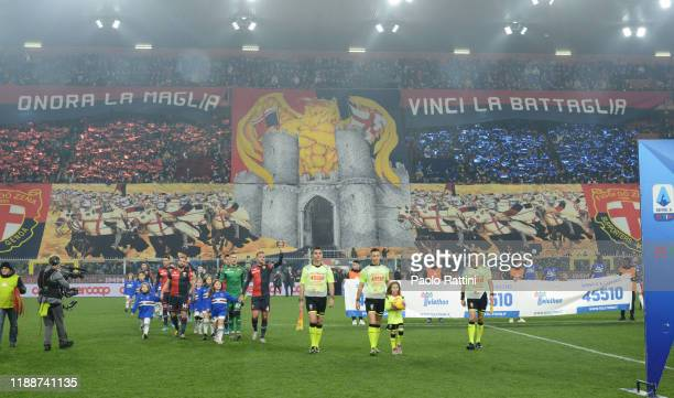 Choreography for Genoa CFC during the Serie A match between Genoa CFC and UC Sampdoria at Stadio Luigi Ferraris on December 15 2019 in Genoa Italy...