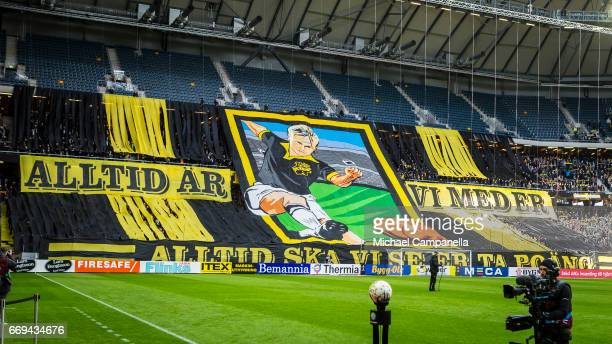 Choreography from the supporters of AIK before an Allsvenskan match between AIK and Hammarby IF at Friends arena on April 17 2017 in Solna Sweden