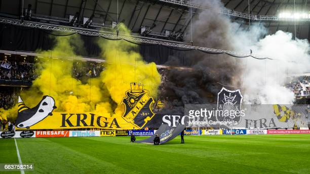 Choreography from the supporters of AIK during the Allsvenskan match between AIK and BK Hacken at Friends arena on April 2 2017 in Solna Sweden