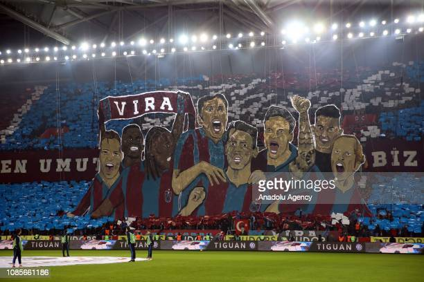 Choreography prepared by Trabzonspor supporters is being displayed ahead of Turkish Super Lig soccer match between Trabzonspor and Medipol Basaksehir...