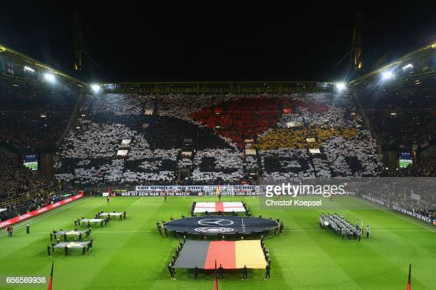 A choreography to say farewell to Lukas Podolski prior to the international friendly match between Germany and England at Signal Iduna Park on March...