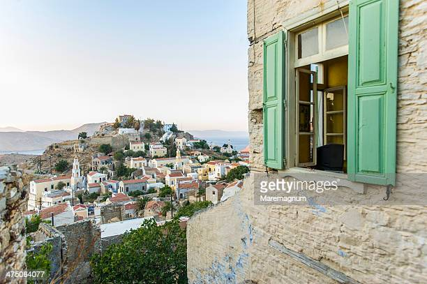 chorio, in the highest part of the island - symi stock photos and pictures