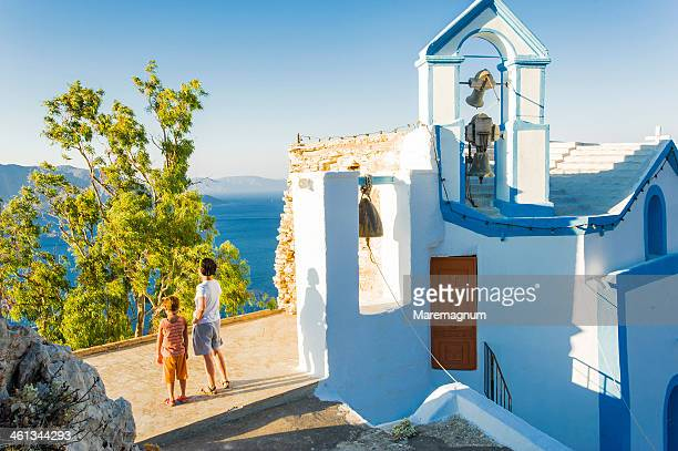 chorio, typical church - symi stock photos and pictures