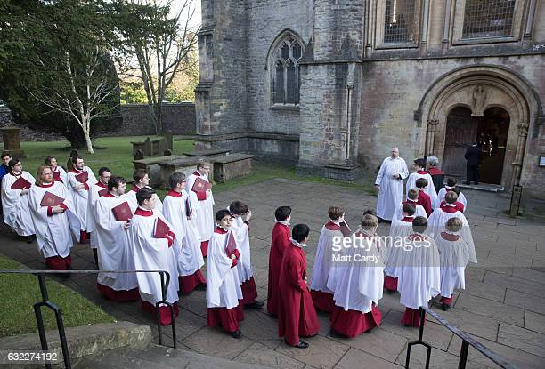 Choristers arrive for the consecration of the Reverend Canon Joanna Penberthy as Bishop of St Davids at Llandaff Cathedral on January 21 2017 in...