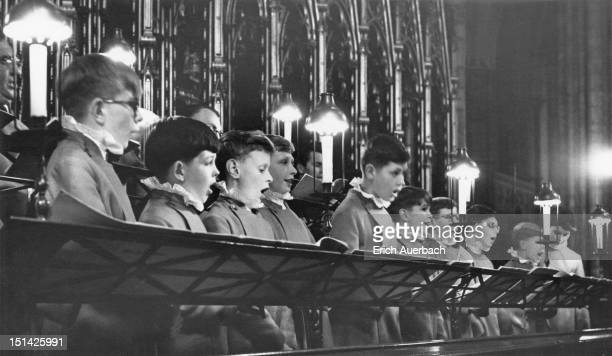 Choristers at Westminster Abbey during a recording session 12th June 1962