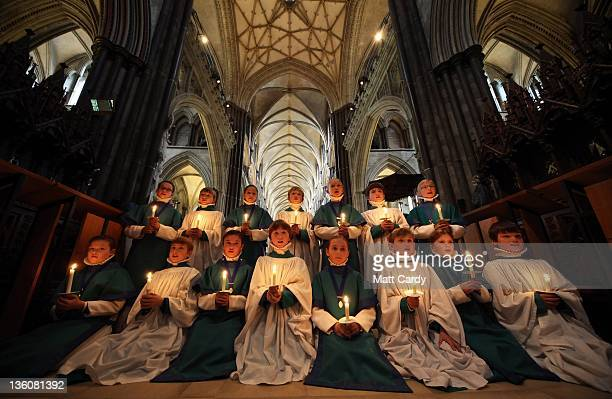 Choristers from the Salisbury Cathedral Choir practice ahead of the services that will be held in the cathedral marking Christmas on December 21 2011...