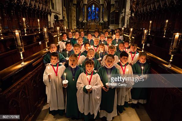 Choristers from the Salisbury Cathedral Choir practice ahead of the services that will be held in the cathedral marking Christmas Eve on December 21...