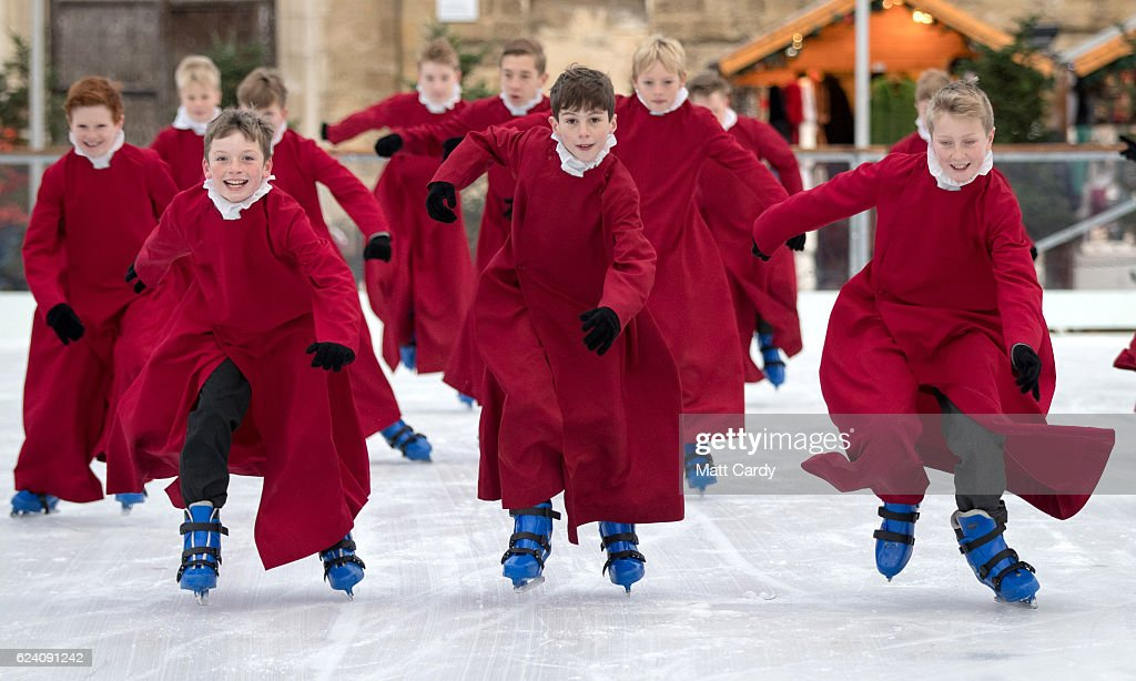 Choristers from Winchester Cathedral don ice skates to try out the recently installed artificial ice rink beside the cathedral which opens today on November 18, 2016 in Winchester, England. The opening of the ice rink coincides with the opening of the cathedral's Christmas market. .