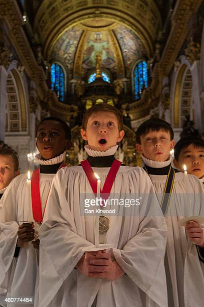 Choristers of the St Paul's Cathedral Choir rehearse for their Christmas carol service at St Paul's Cathedral on December 22 2014 in London England...