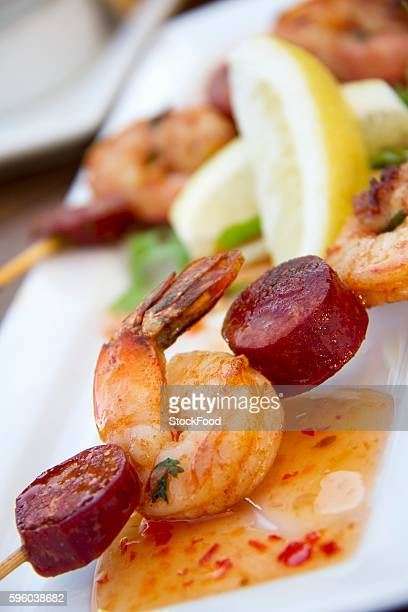 Chorizo and Shrimp Skewer with Sweet and Sour Sauce