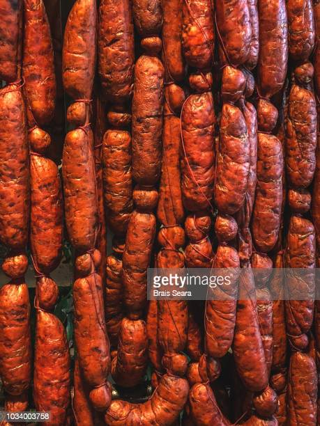 chorizo sausages - chorizo stock pictures, royalty-free photos & images