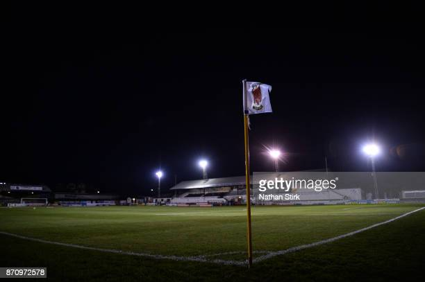 Chorley corner flag before The Emirates FA Cup First Round match between Chorley and Fleetwood Town at Victory Park on November 6 2017 in Chorley...