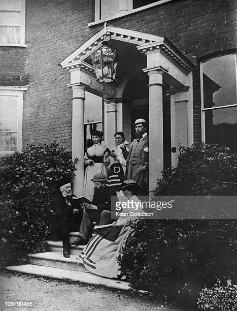 HF Chorley Kate Dickens Mary Dickens Charles Dickens CA Collins and Georgina Hogarth pictured at the entrance to the author's Gads Hill Place home in...