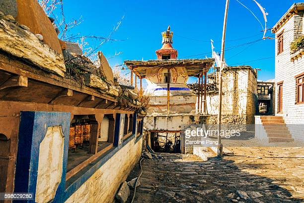 Chorten and prayer wheels in a village along the Himalayan trail.