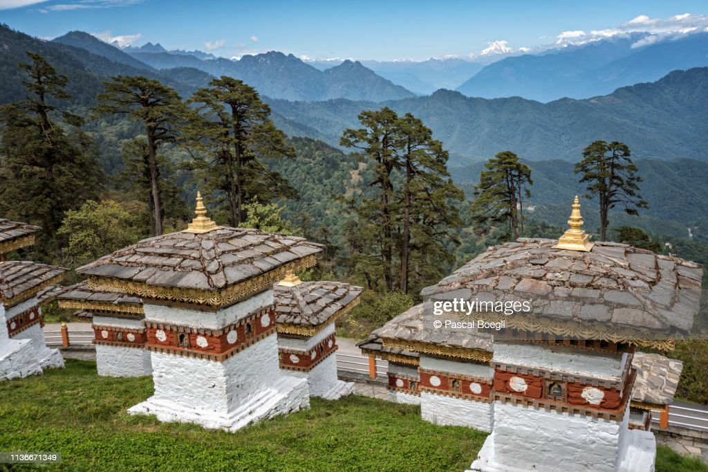 Chortens and mountains at Dochula Pass, Bhutan : Stock Photo
