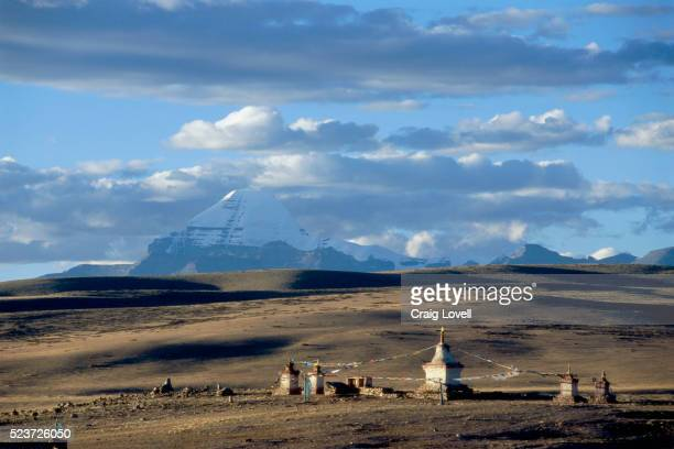 chortens at chiu monastery near mount kailas - mt kailash stock pictures, royalty-free photos & images