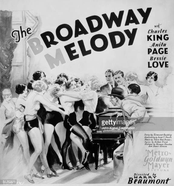 Chorus girls fighting on the poster for the original 'The Broadway Melody' musical directed by Harry Beaumont Starring Charles King Anita Page and...