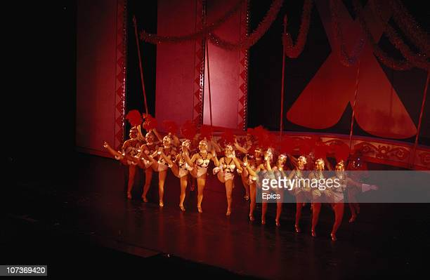 Chorus girls performing during a show in the Tower Ballroom in the seaside town of Blackpool Lancashire August 1983