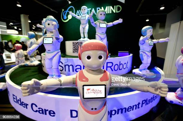 A chorus of iPal robots sing for attendees at the AvatarMind booth during CES 2018 at the Las Vegas Convention Center on January 10 2018 in Las Vegas...