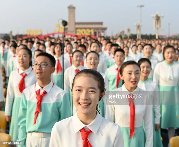 Chorus performs during a ceremony celebrating the centenary of the Communist Party of China at Tian'anmen Square on July 1, 2021 in Beijing, China.