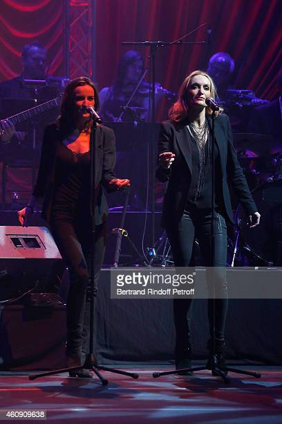 Chorus Singer Salome Stevenin and Christaline perform during the Laurent Gerra Show at Palais des Sports on December 27 2014 in Paris France