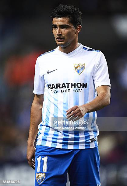 Chory Castro of Malaga CF looks on during the La Liga match between Malaga CF and Real Sociedad de Futbol at La Rosaleda Stadium on January 16 2017...