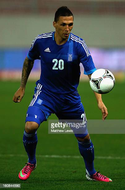 Chose Cholebas of Greece in action during the International Friendly match between Greece and Switzerland at Karaiskakis Stadium on February 6 2013...