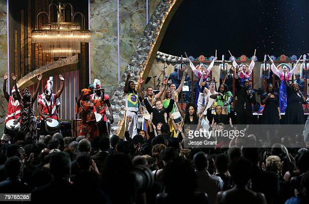 Chosen Drum Groups Sun Hwa and Futa Toro perform onstage during the 39th NAACP Image Awards held at the Shrine Auditorium on February 14 2008 in Los...