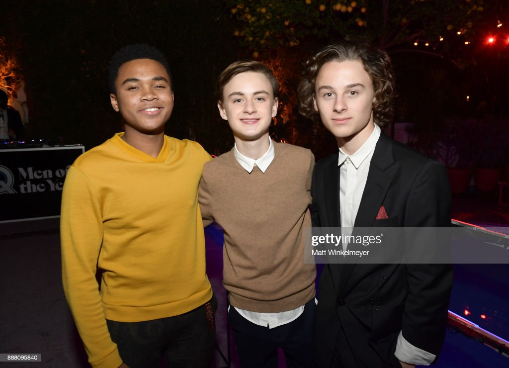 Chosen Jacobs, Jaeden Lieberher, and Wyatt Oleff attend the 2017 GQ Men of the Year party at Chateau Marmont on December 7, 2017 in Los Angeles, California.