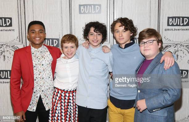 Chosen Jacobs Sophia Lillis Finn Wolfhard Wyatt Oleff and Jeremy Ray Taylor attend Build to discusss the movie IT at Build Studio on August 30 2017...