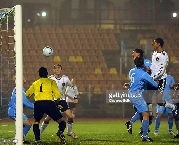 Choupo Moting of Germany scores the goal during the UEFA Under 21 Championship match between San Marino and Germany at Olimpico stadium on November...