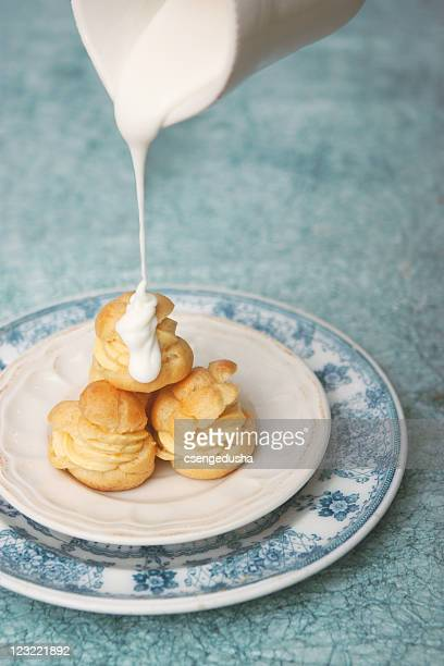 Choux pastry with apricot cream filling