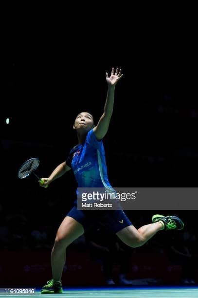 Chow Mei Kuan and Lee Meng Yean of Malaysia compete in the women's doubles match against Mayu Matsumoto and Wakana Nagahara of Japan on day three of...