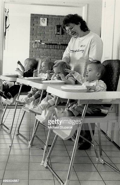 Chow time The four hungry mouths of 18monthold quadruplets Iain Margaret Anne and Jennifer face Elaine Stirk each mealtime followed by some of the 96...