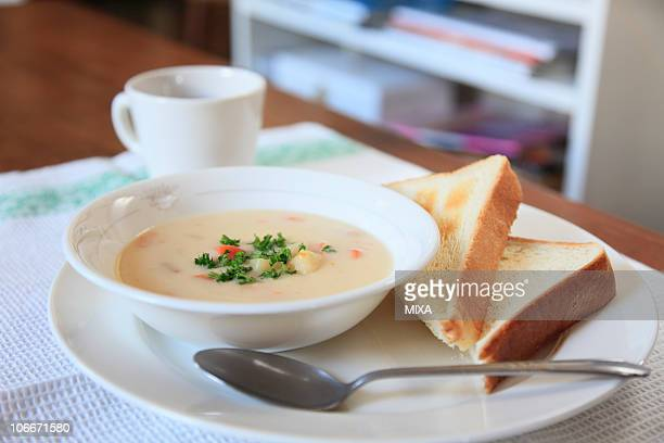 Chowder and toast