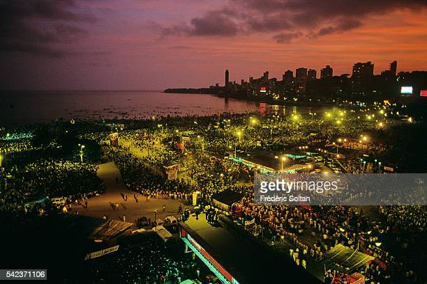 Chowpatty Beach at night during the Ganesh Festival God of wisdom prosperity and good fortune the elephantheaded Ganesha is the son of Shiva and...