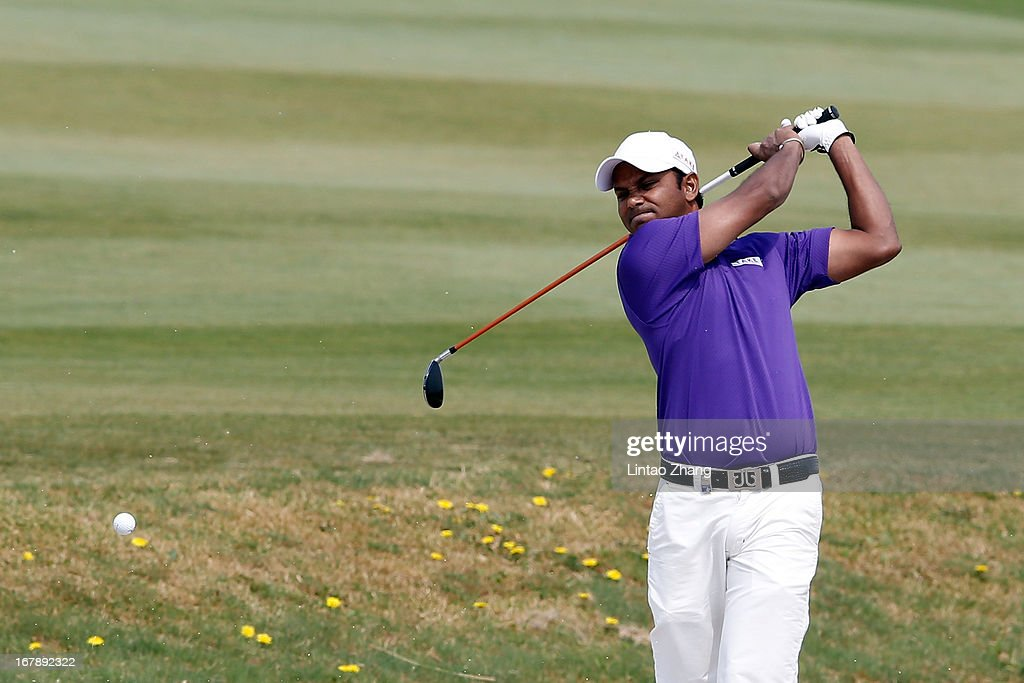 P. Chowrasia of India plays a shot during the first day of the Volvo China Open at Binhai Lake Golf Course on May 2, 2013 in Tianjin, China.