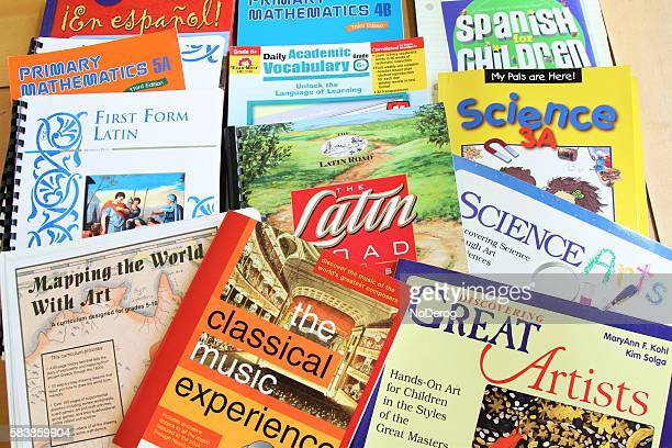 Chrildren's schoolbooks in math, science, music, spanish, latin and grammar.
