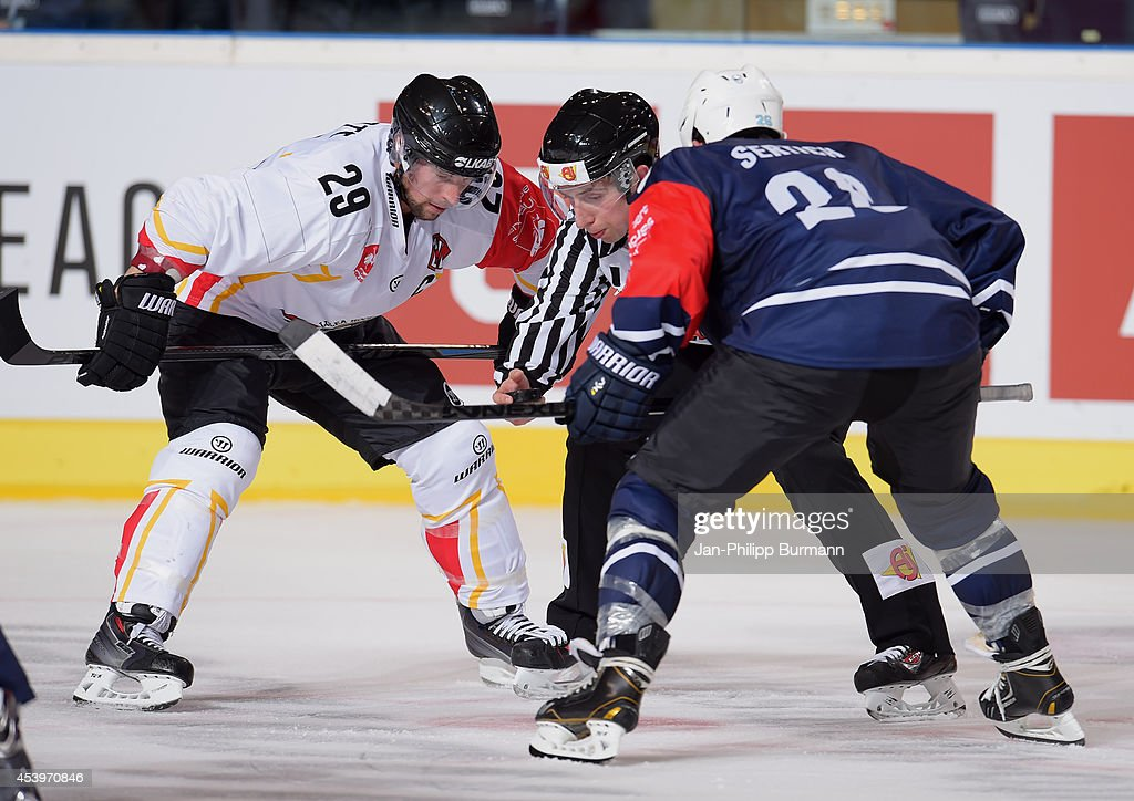 Chris Abbott (L) #29 of Lulea Hockey on bully with Patrick Pohl #28 of Hamburg Freezers during the Champions Hockey League group stage game between Hamburg Freezers and Lulea HF on August 22, 2014 in Hamburg, Germany.