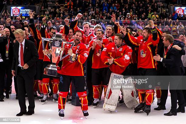 Chris Abbott of Lulea Hockey with the CHL trophy during the Champions Hockey League Final match between Lulea Hockey and Frolunda Gothenburg at Coop...