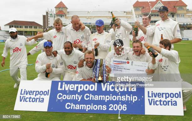 Chris Adams leads the Sussex celebrations after Sussex secured the Liverpool Victoria County Championship by winning the County Championship match...