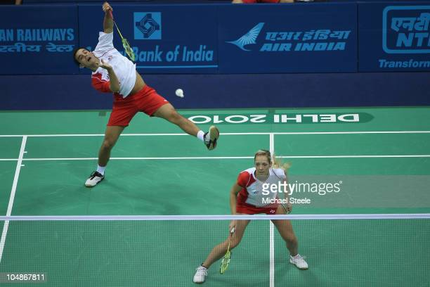 Chris Adcock and Gabby White of England during the mixed doubles match against Shama Aboobakar and JMS Beeharry of Mauritius at Siri Fort Sports...