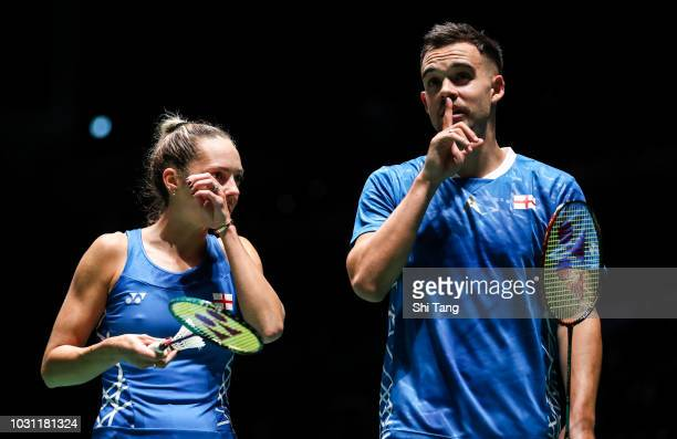 Chris Adcock and Gabrielle Adcock of England competes in the Mixed first round match against Lu Kai and Chen Lu of China on day one of the Yonex...