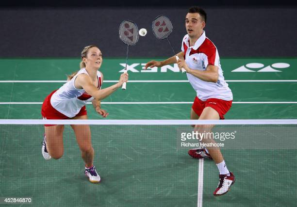 Chris Adcock and Gabrielle Adcock of England in action in the mixed doubles against Peng Soon Chan and Lai Pei Jing of Malaysia in the Badminton...