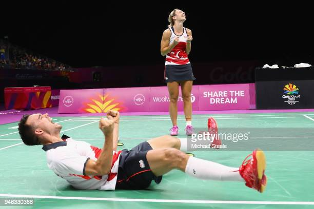 Chris Adcock of England celebrates match point alongside Gabrielle Adcock during the mixed doubles final against Marcus Ellis and Lauren Smith of...