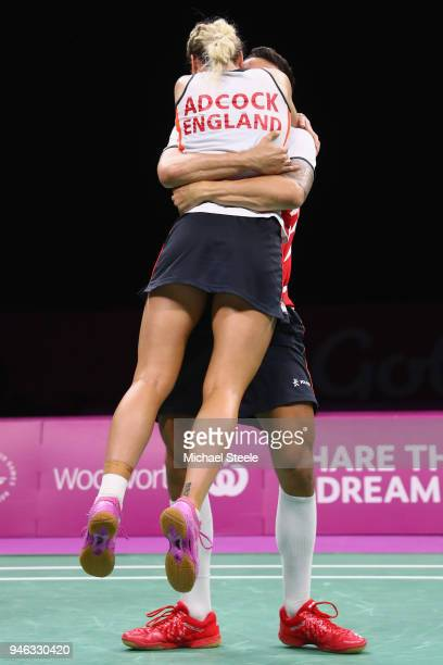 Chris Adcock of England celebrates match point with Gabrielle Adcock during the mixed doubles final against Marcus Ellis and Lauren Smith of England...