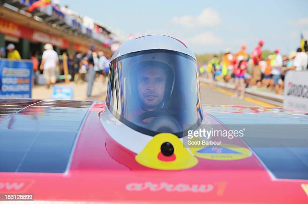 Chris Ahearn, driver of Arrow1 from Team Arrow, Associated with Queensland University of Technology in Australia prepares to race in the Clipsal and...